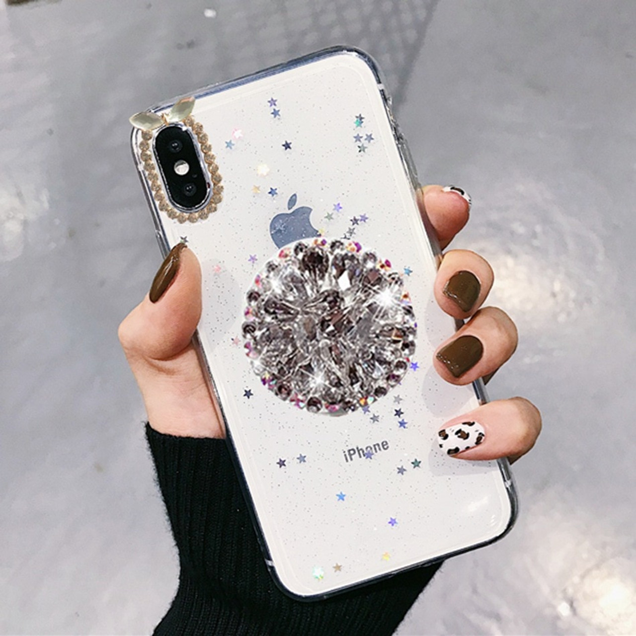 277205430d For iPhone 7 8 Case Luxury Glitter Diamond Cover For iPhone X XS Max XR 6 7  8 Plus Rhinestone 3D Grip Stand Holder Phone Cases