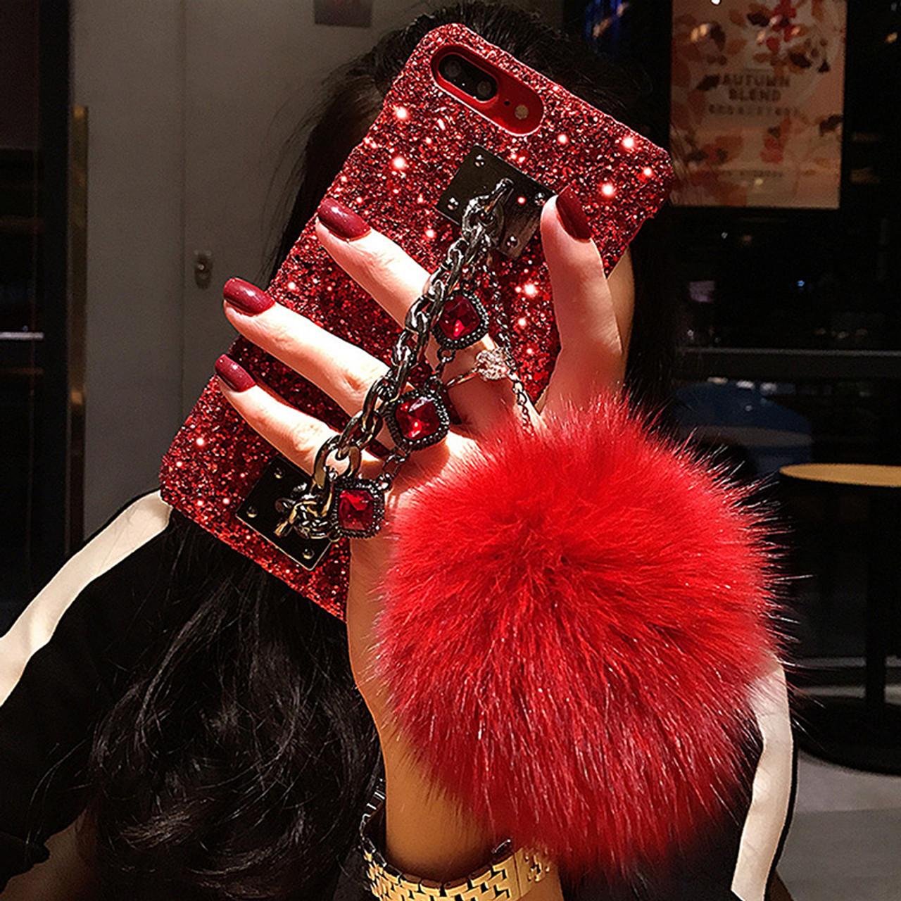 For iPhone XS Max XR Case Glitter Luxury Bling Diamond Gem Bracelet Chain  Tassel Fox Fur ... 362bd0b24cc5