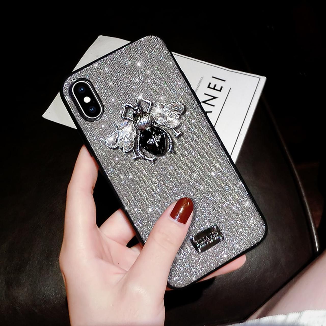 Luxury Brand 3d Metal Bee Letter Label Glitter Diamond Soft Bling