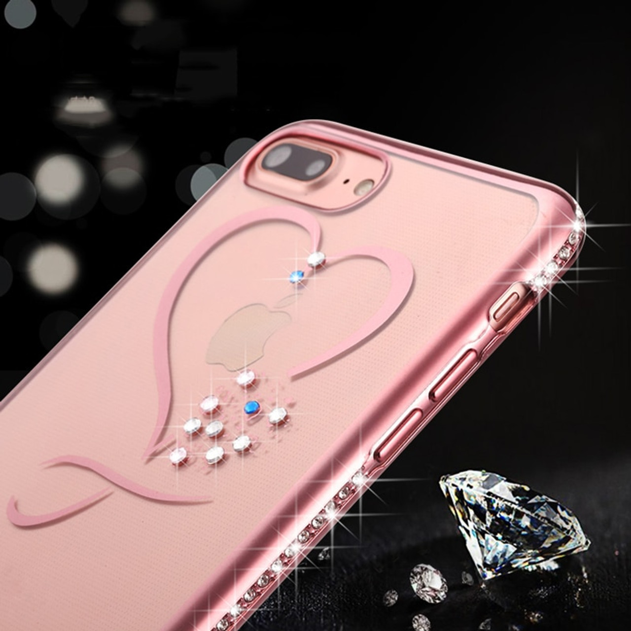 8138a43a70 ... Fashion Bling Crystal Heart Phone Cases For iphone 7 6 6S Plus Case  thin Clear Soft ...