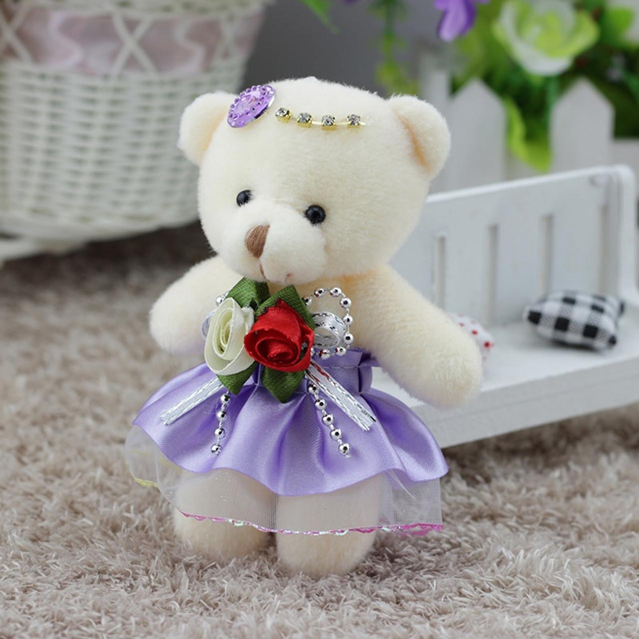 2f6dff5f563 ... 12pcs lot Kawaii Small Teddy Bears Stuffed Plush 12CM Toy Mini cartoon  bouquet Teddy- ...