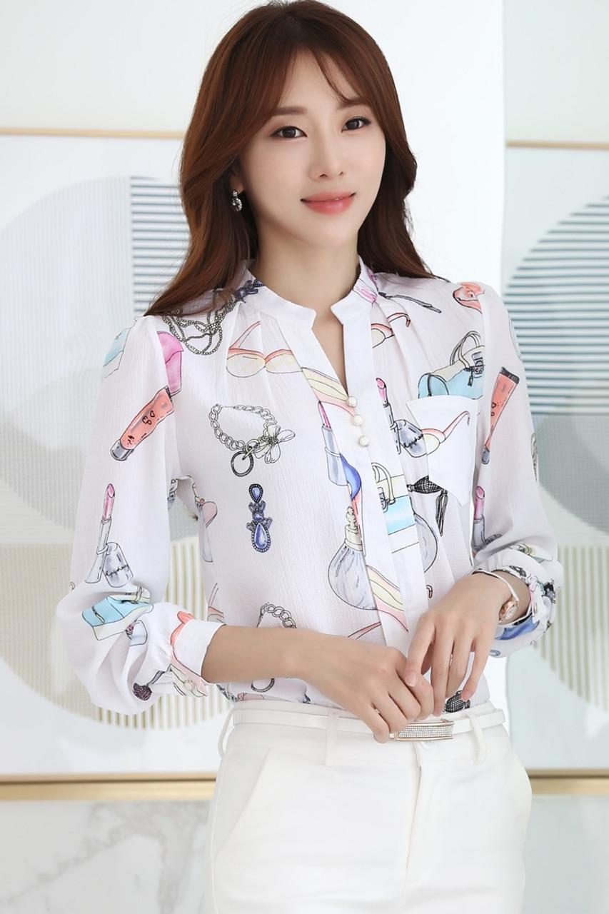 f0fce8a72a ... 2018 New Arrival Autumn Fashion Women Tops Korean Women Shirt Slim Female  Korean Long Sleeved Chiffon ...