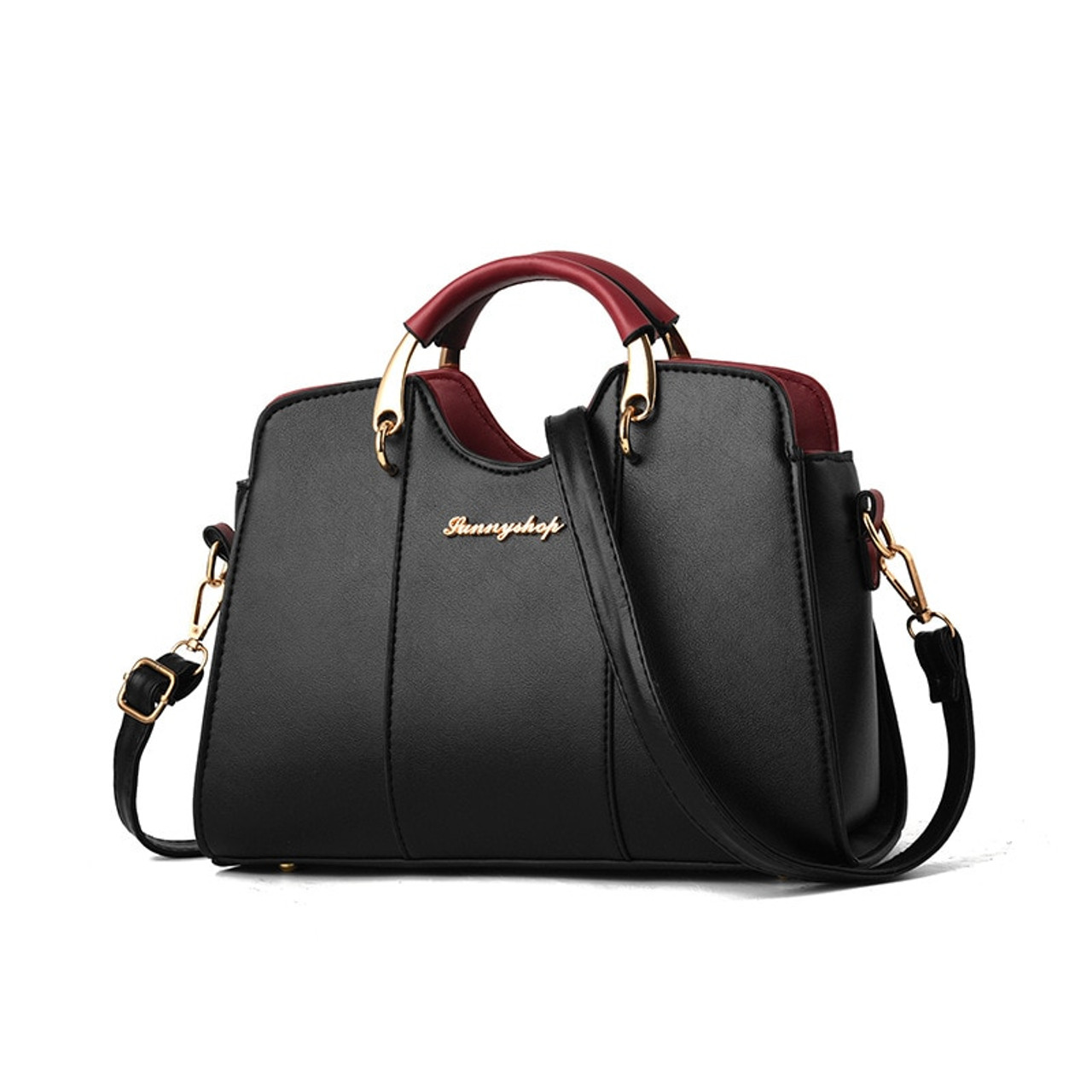 Short PU Leather Bag Handle Handbag Purse Clutch Bag Strap Holder Black 29cm