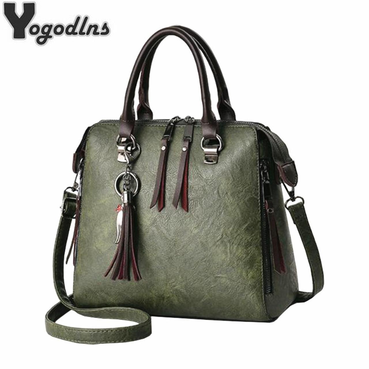 2949a2dd1 2019 Fashion Tassel Women Shoulder Bags Large Capacity Casual Leather Female  Handbag Rivet Zipper Crossbody Bags ...