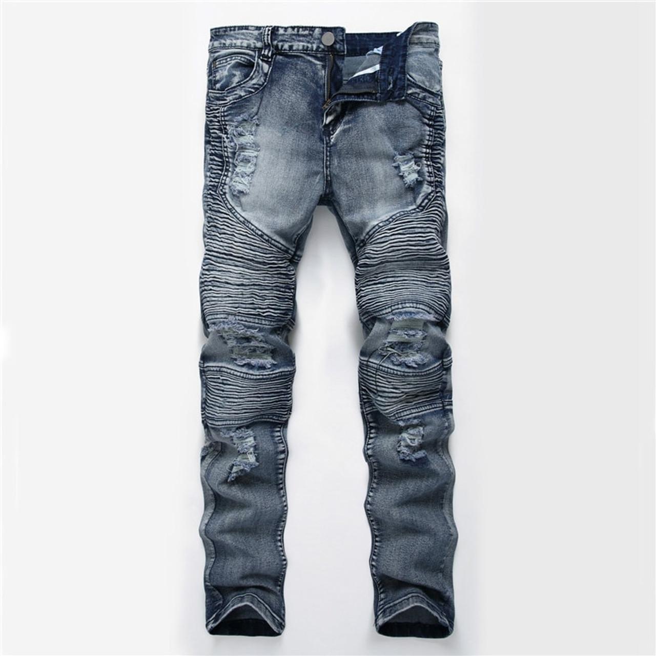 Dropshipping Men Washed Hole Ripped Biker Jeans New Jeans Men Fashion Casual Slim Fit Hip Hop High Street Holes Denim Pants Onshopdeals Com