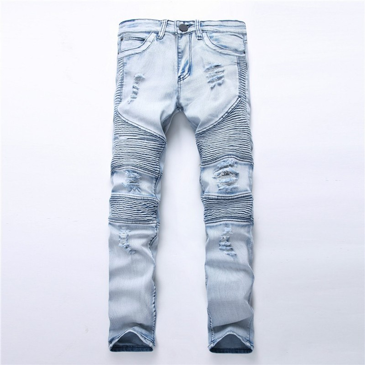 7cdfe4c0fbc ... Dropshipping Men Washed Hole Ripped Biker Jeans New Jeans Men Fashion  Casual Slim Fit Hip Hop ...