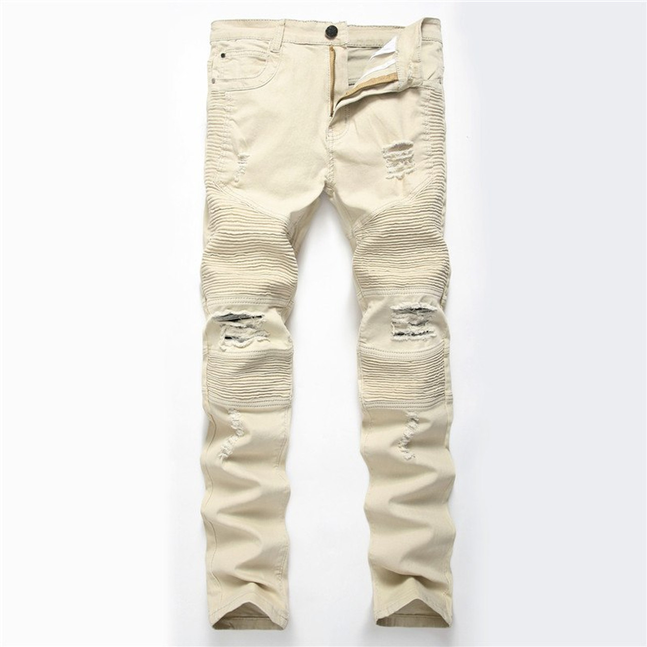 9bc57c0ac9 ... Dropshipping Men Washed Hole Ripped Biker Jeans New Jeans Men Fashion  Casual Slim Fit Hip Hop ...