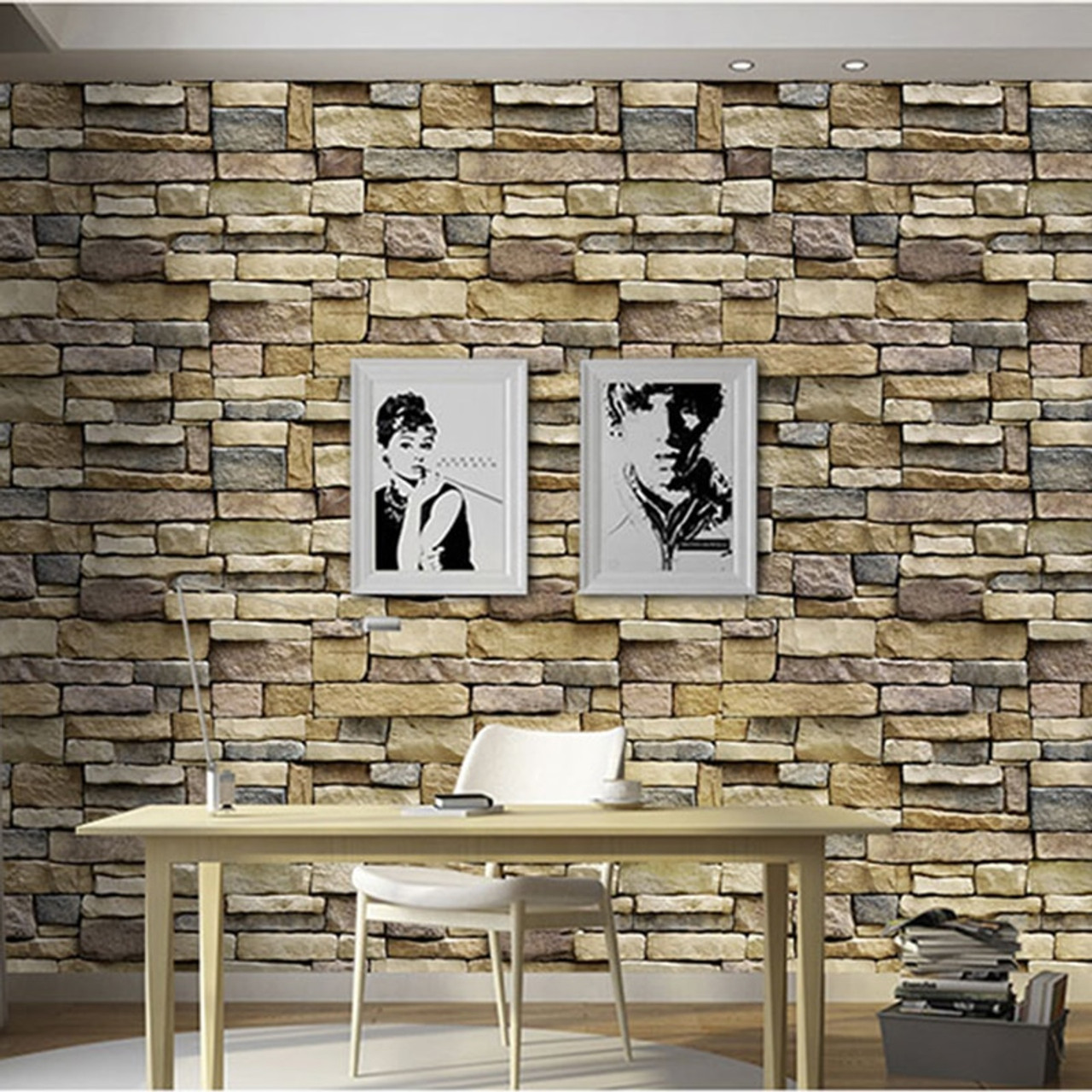 Brick Stone Vinyl Self Adhesive Wallpaper 3d Living Room Restaurant Cafe Creative Decor Pvc Waterproof Wall Sticker Wall Papers