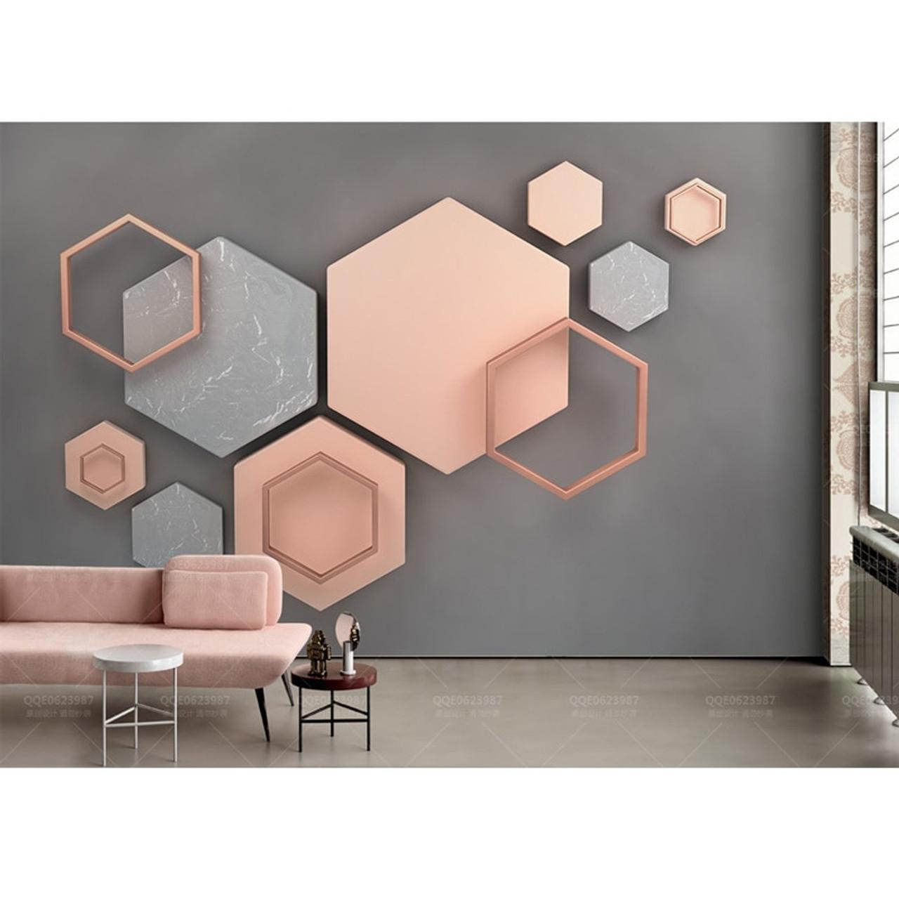 Home Decor Wall Papers Stickers Modern 3d Geometric Photo Wallpaper Mural Living Room Bedroom Self Adhesive Vinylsilk Wallpaper