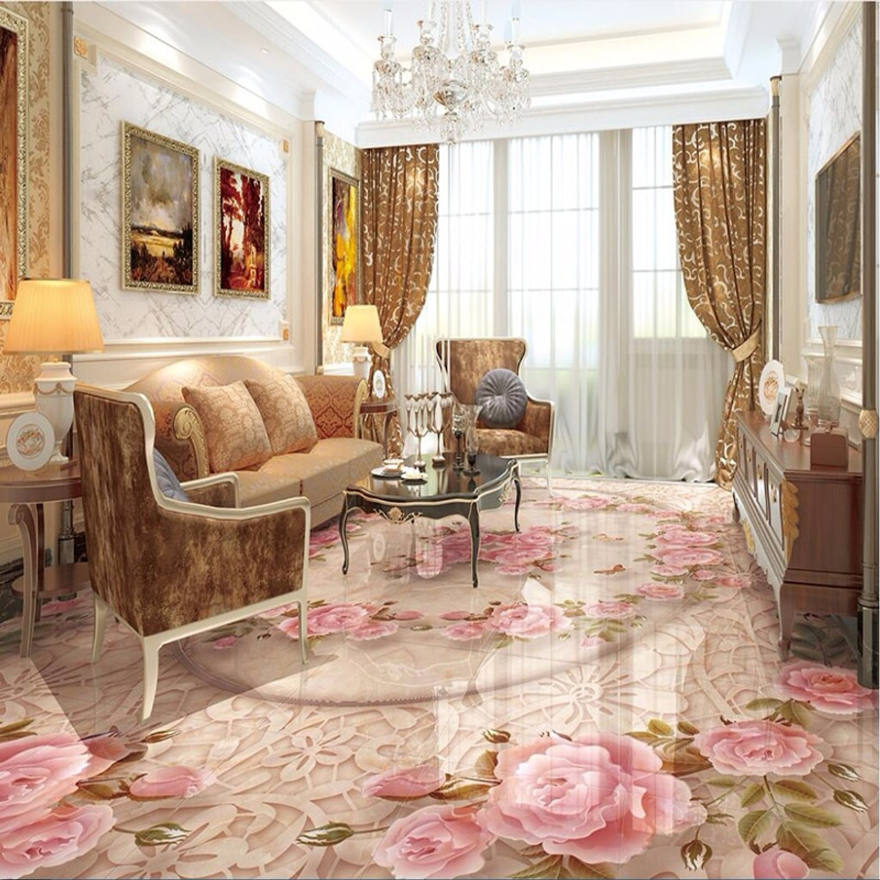 3D Wallpaper European Style Marble Floral Floor Sticker Living Room Bedroom PVC Self Adhesive Waterproof Murals  86065.1548416900