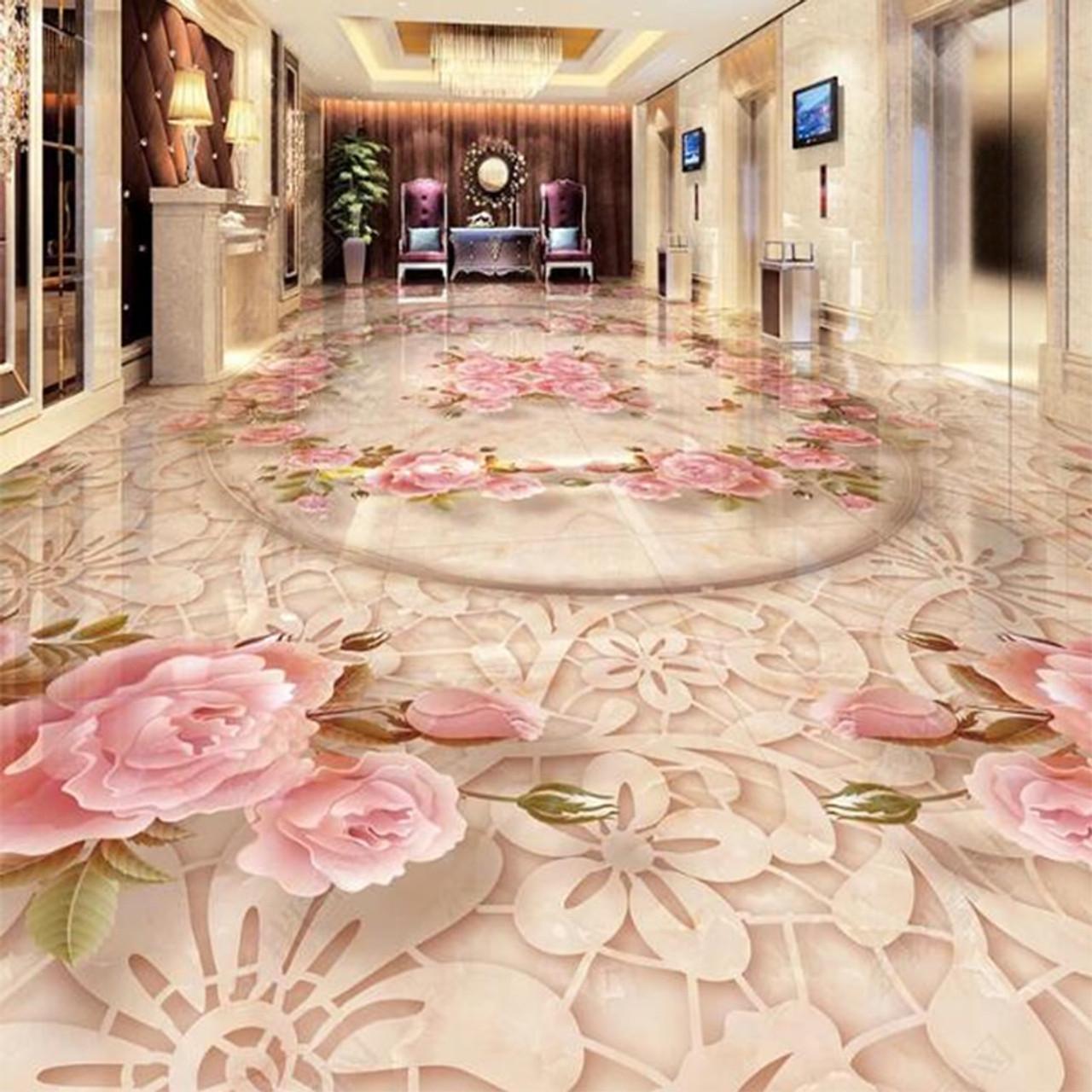 3d Wallpaper European Style Marble Floral Floor Sticker Living Room Bedroom Pvc Self Adhesive Waterproof Murals Wall Paper Decor