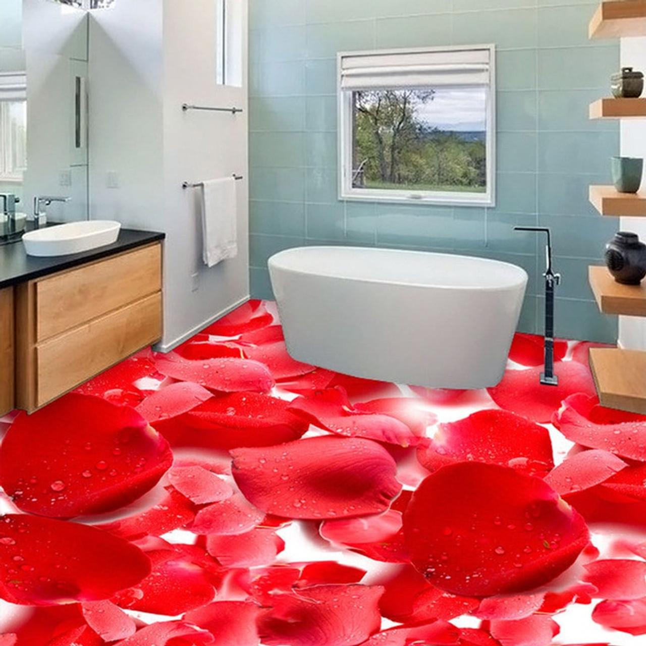 3d Red Flowers Photo Floor Wallpaper Stickers Anti Wear Living Room Bedroom Waterproof Pvc Self Adhesive Vinyl Flooring Murals
