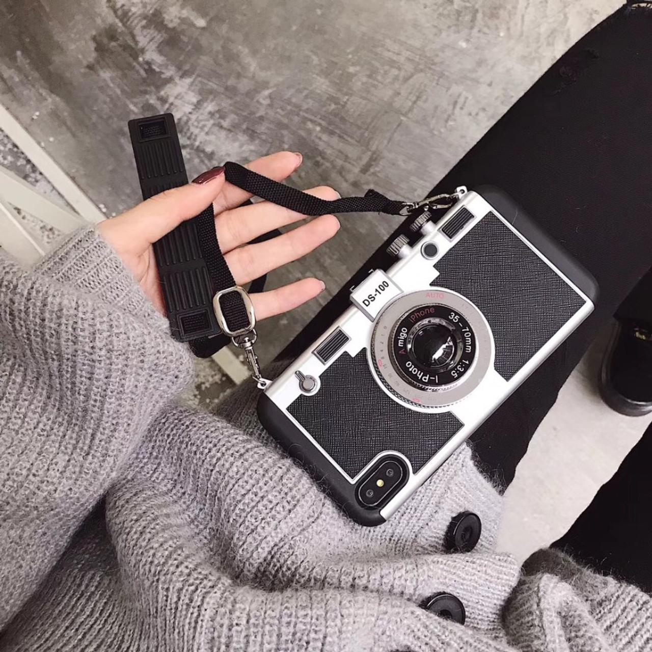 size 40 c0eda fbdda 3D Camera With Long Strap Rope Back Cover For iPhone 8 7 6s plus Phone  Cases Old Vintage Styles Soft Silicone For Apple iphone X