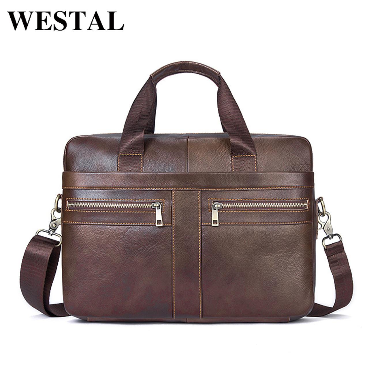 667f89ecc6 WESTAL Genuine Leather Men Bags Briefcases Men s Messenger Bag Cowhide  Leather Laptop Crossbody Handbag Male Business ...