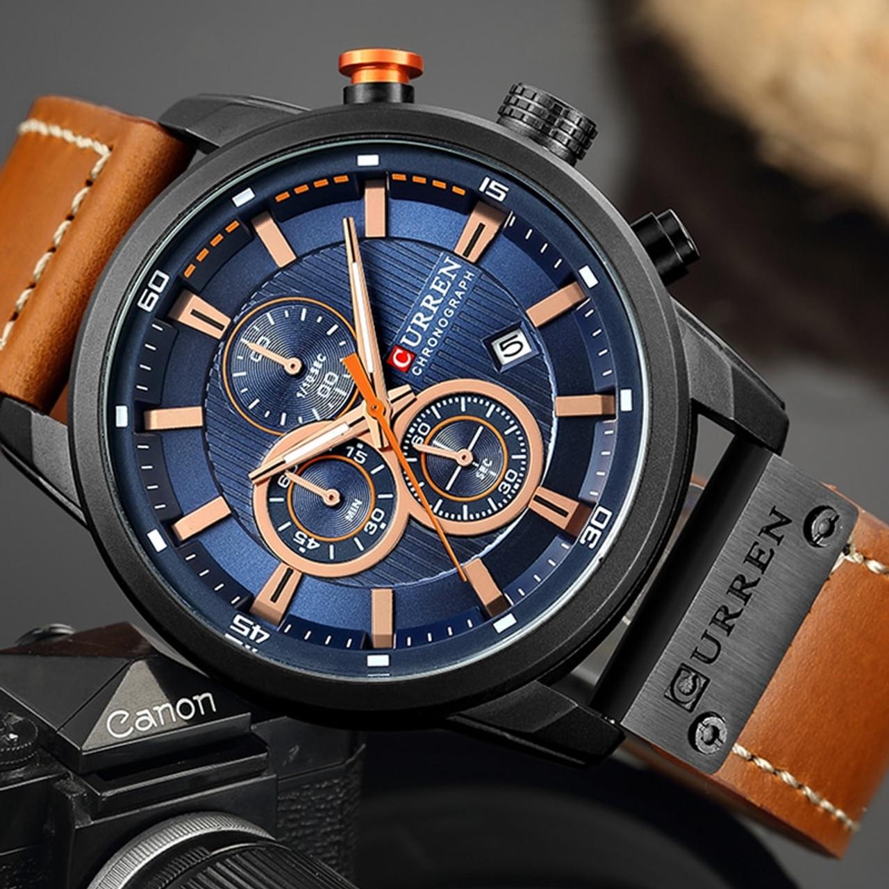 c13a2696b51 Relogio Masculino Curren 8291 Quartz Blue Vogue Business Sports Watches  Luxury Brand Men s Army Military Watch ...