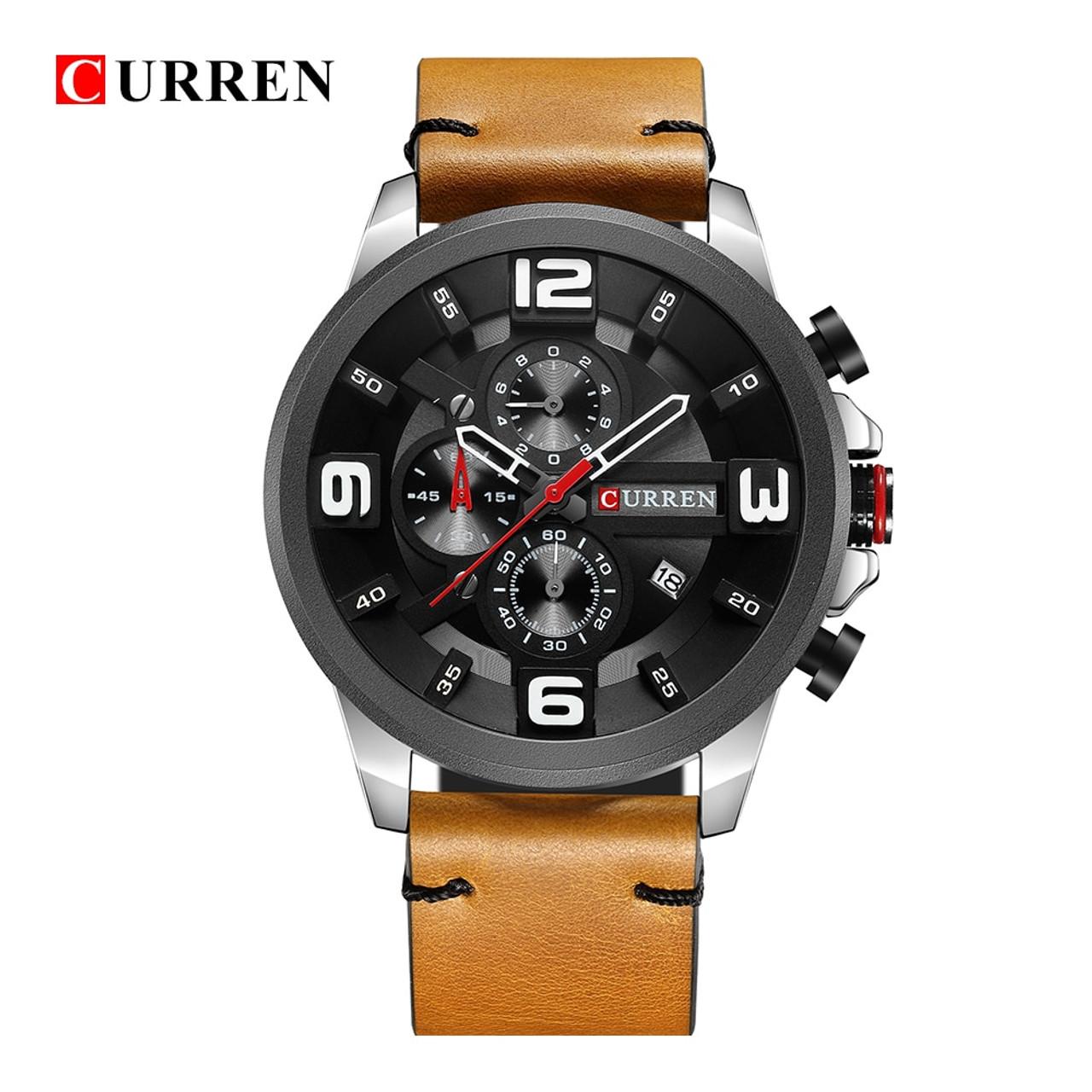 ... CURREN 8288 Top Luxury Brand Men Watches Men s Sports Quartz Clock Man  Leather Army Military Wristwatch ... c39c29b6e05