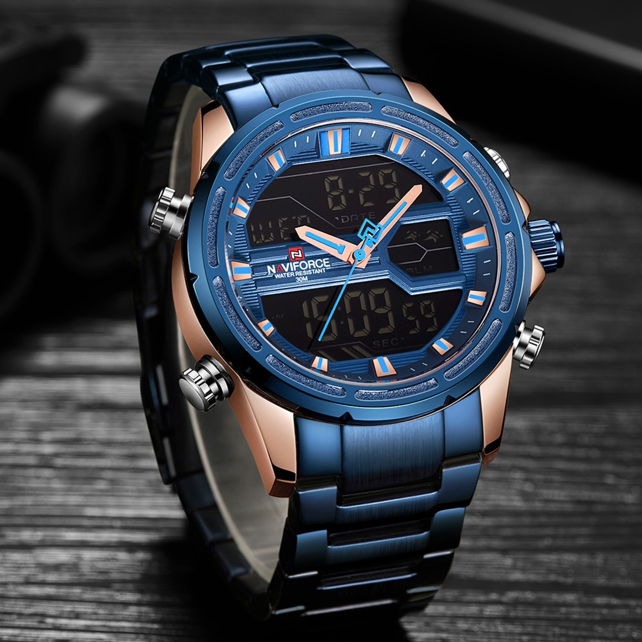 a3904194e ... Man Stainless Army Military Wrist Watch NAVIFORCE Luxury Brand Men  Watch Fashion Sports Watches Men's Waterproof ...