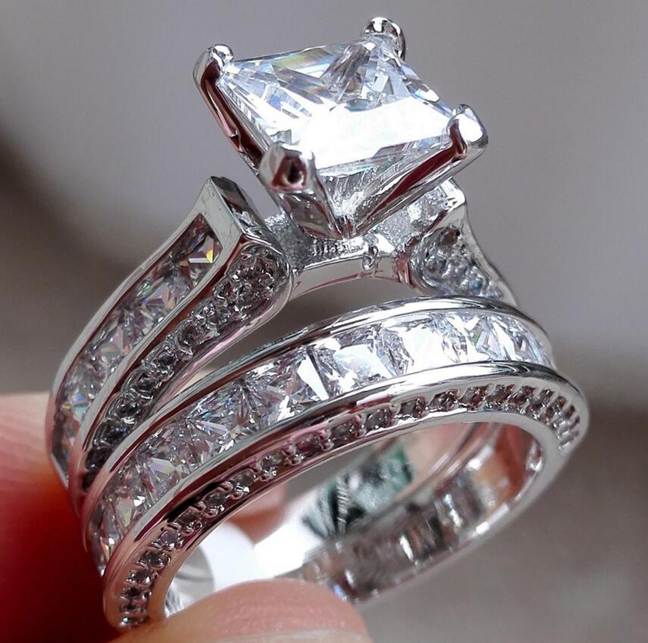 2b97d8d9d0 Couple Rings For Lover Luxury Jewelry 925 Sterling Silver Princess Cut 5A  White Clear Zirconia CZ ...
