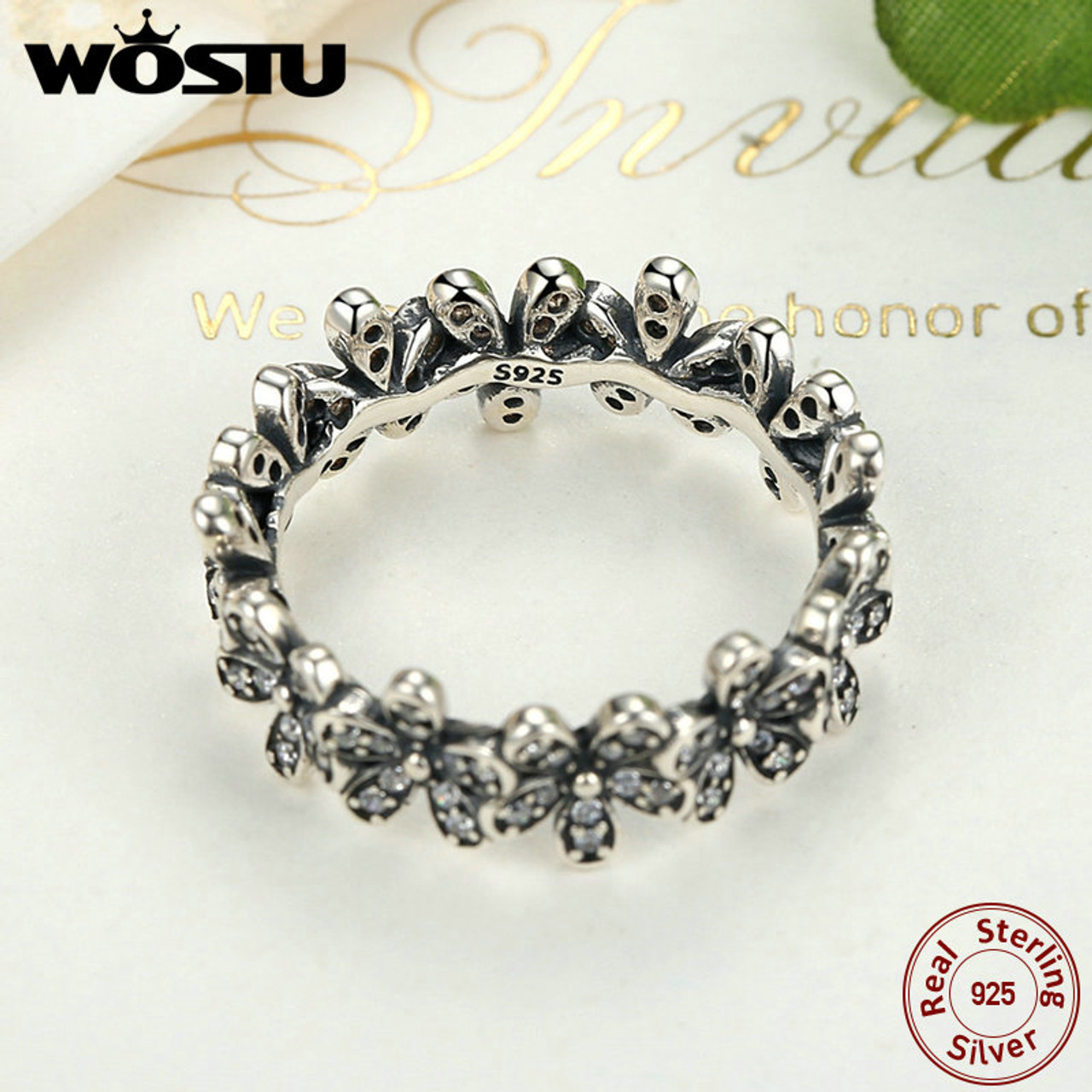 a1269a7ef ... High Quality 100% 925 Sterling Silver Dazzling Daisy Meadow Stackable  Ring For Women Luxury Original ...