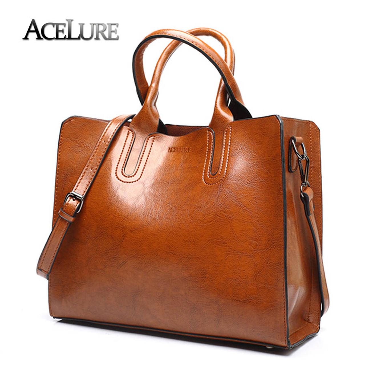2578c3dec048 ACELURE Leather Handbags Big Women Bag High Quality Casual Female Bags  Trunk Tote Spanish Brand Shoulder Bag Ladies Large Bolsos - OnshopDeals.Com
