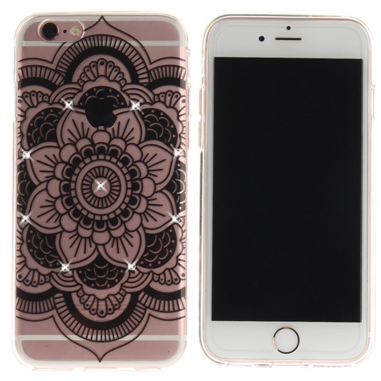 422cee76cc8 ... Rhinestone Coque Fundas For iphone 8 7 Plus 6 6s plus Girls Diamond  Floral Mandala Flower ...