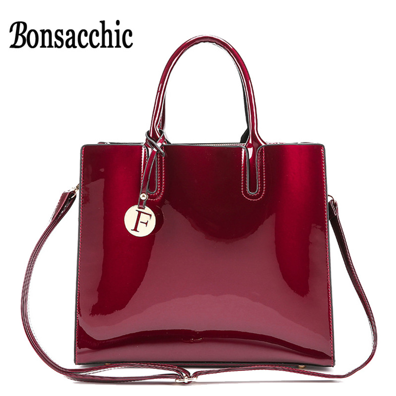 82fcce7047 Bonsacchic Red Patent Leather Tote Bag Handbags Women Famous Brands Lady s  Lacquered Bag Red Handbag for ...