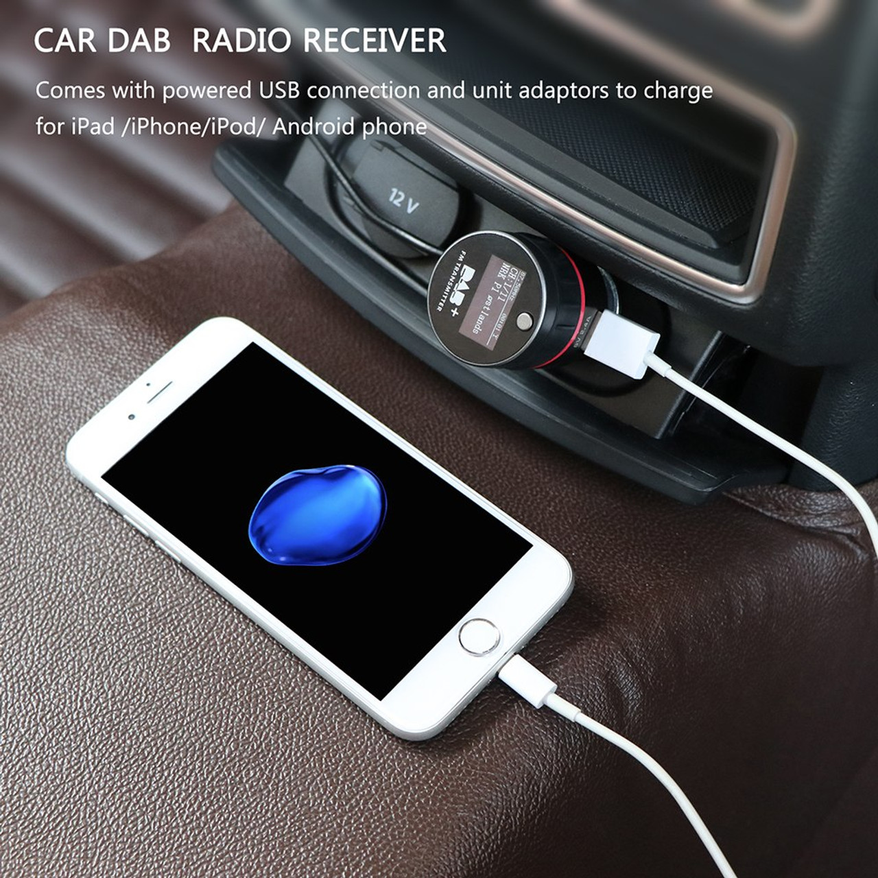 Car DAB Plus Radio Receiver Tuner FM Transmitter Converter Plug-and-Play  Adaptor USB Part for iPad iPhone