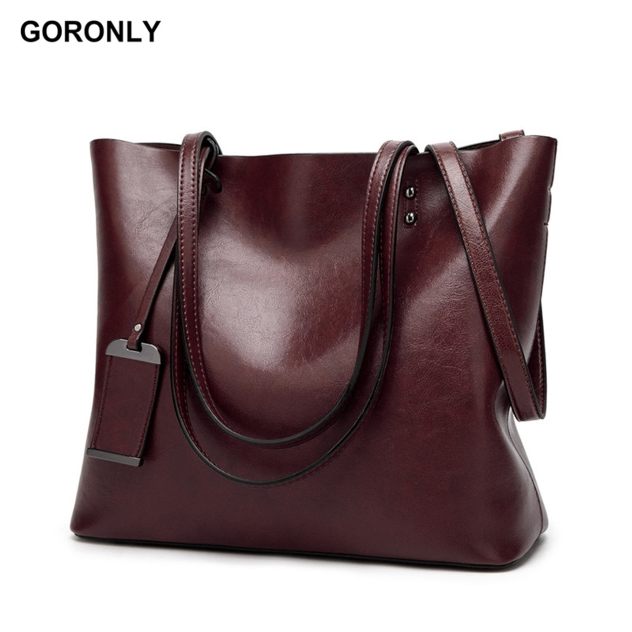 0a71683fac GORONLY Brand New Leather Tote Bag Women Handbags Designer Large Capacity  Shoulder Bags Fashion Lady Purses ...