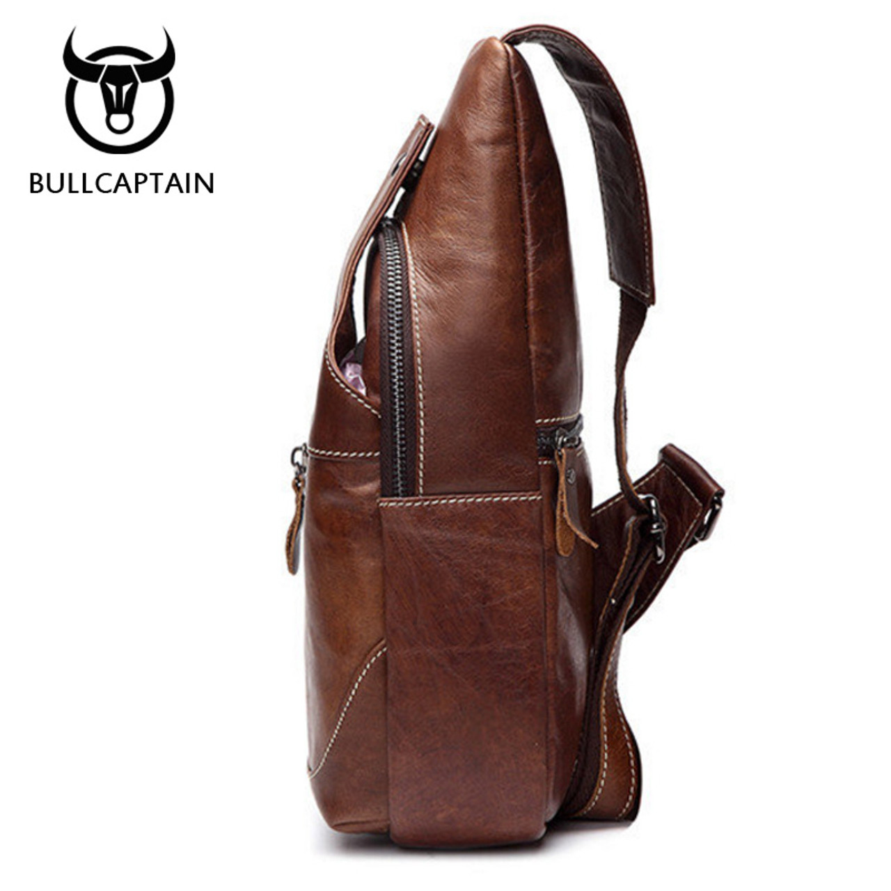 b44802f3c1b ... BULL CAPTAIN 2017 Fashion Genuine Leather Crossbody Bags men casual  messenger bag Small Brand Designer Male ...