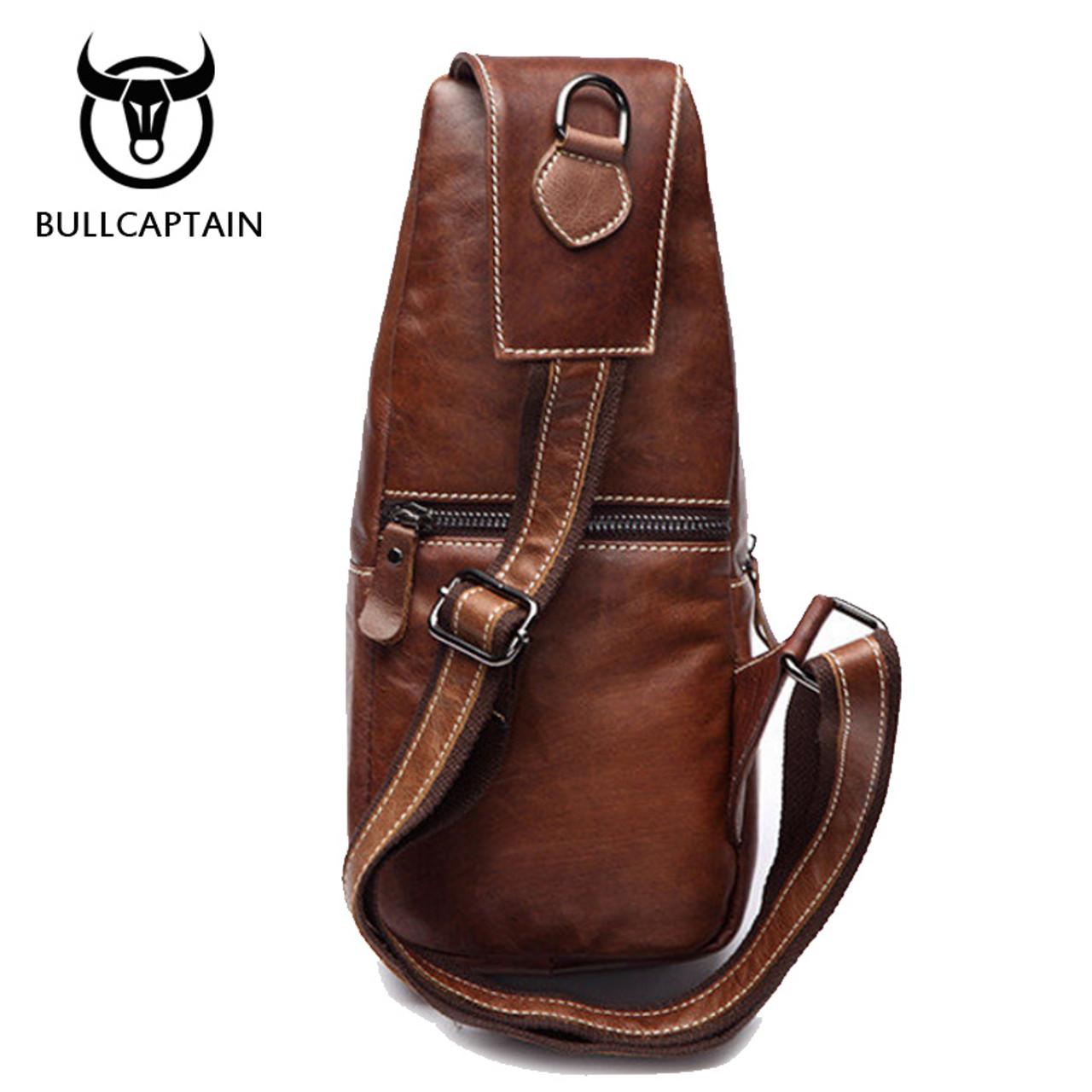 1d54b6c8b1d2 ... BULL CAPTAIN 2017 Fashion Genuine Leather Crossbody Bags men casual  messenger bag Small Brand Designer Male ...