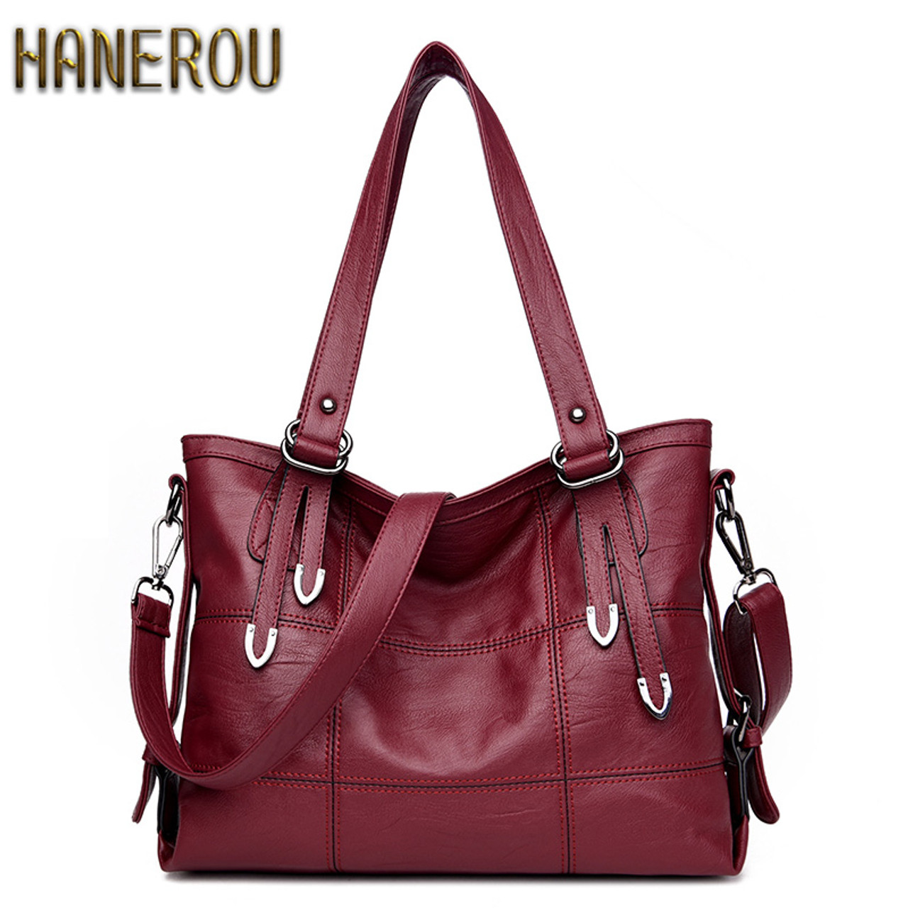 cf1719f2a2 New 2017 Fashion PU Leather Women Messenger Bags Ladies Big Casual Shoulder  Bags Brand Woman Handbags ...