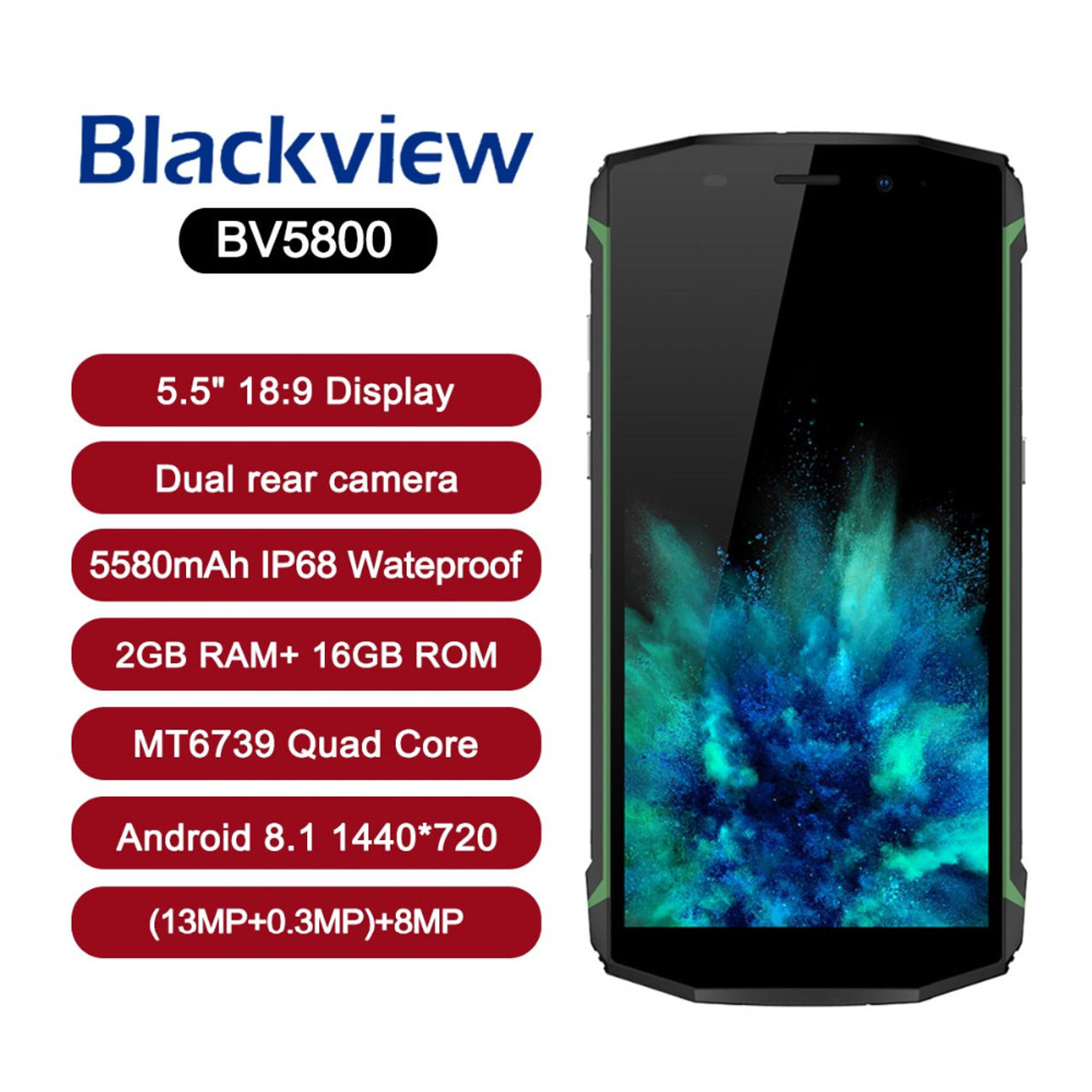 best service 04bd6 08455 Blackview BV5800 Smartphone Android 8.1 IP68 Waterproof 5.5 inch18:9 HD  Full Screen Dual Rear Camera Mobile Phone NFC Cell Phone