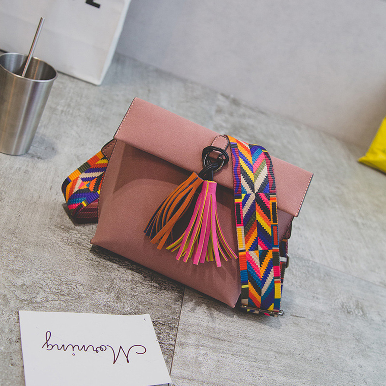 ... Miyahouse Women Scrub Leather Design Crossbody Bag Girls With Tassel  Colorful Strap Shoulder Bag Female Small ... 0cad7ed1c99c8