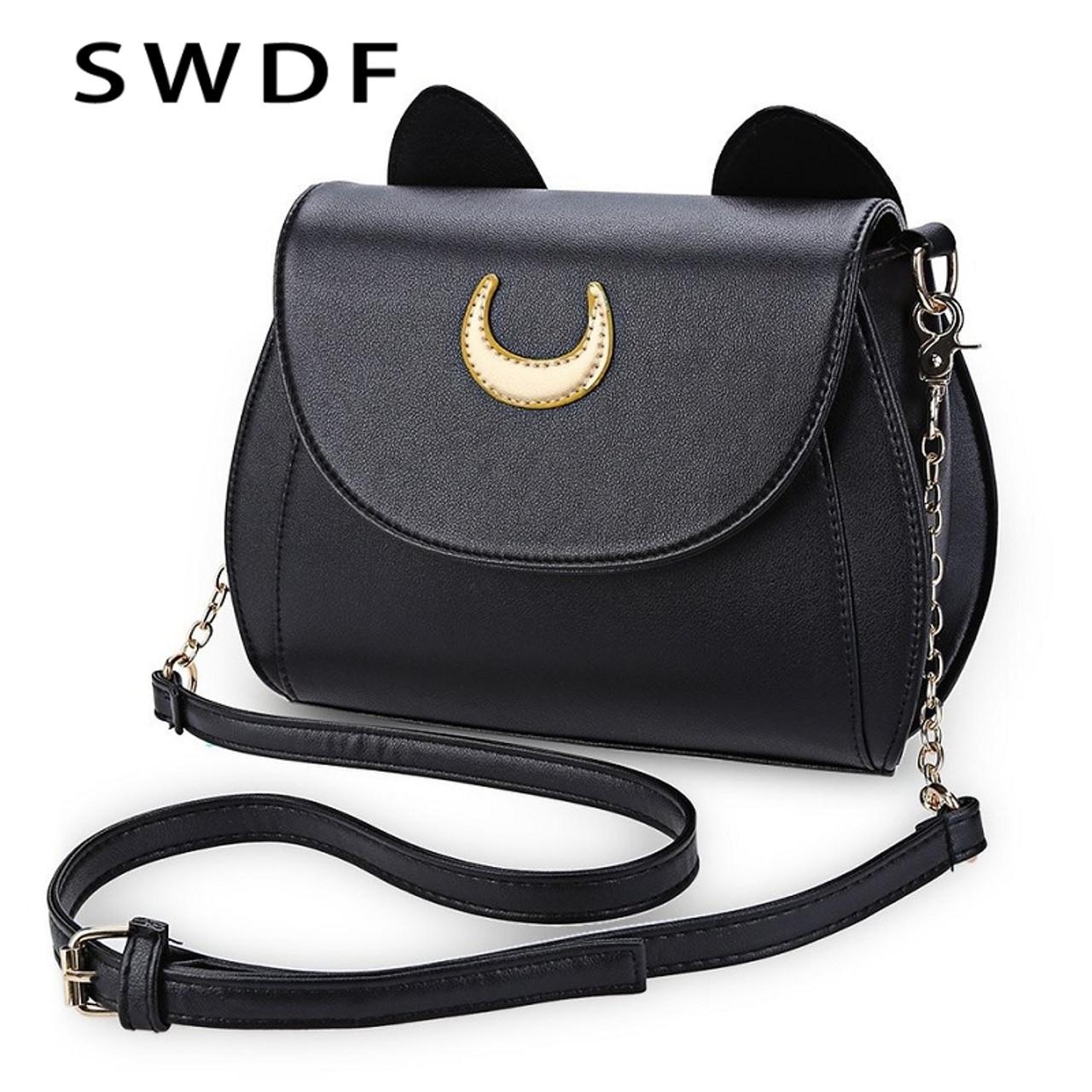 SWDF Summer Sailor Moon Ladies Handbag Black Luna Cat Shape Chain Shoulder  Bag PU Leather Women ... 2fa77a0e7915f