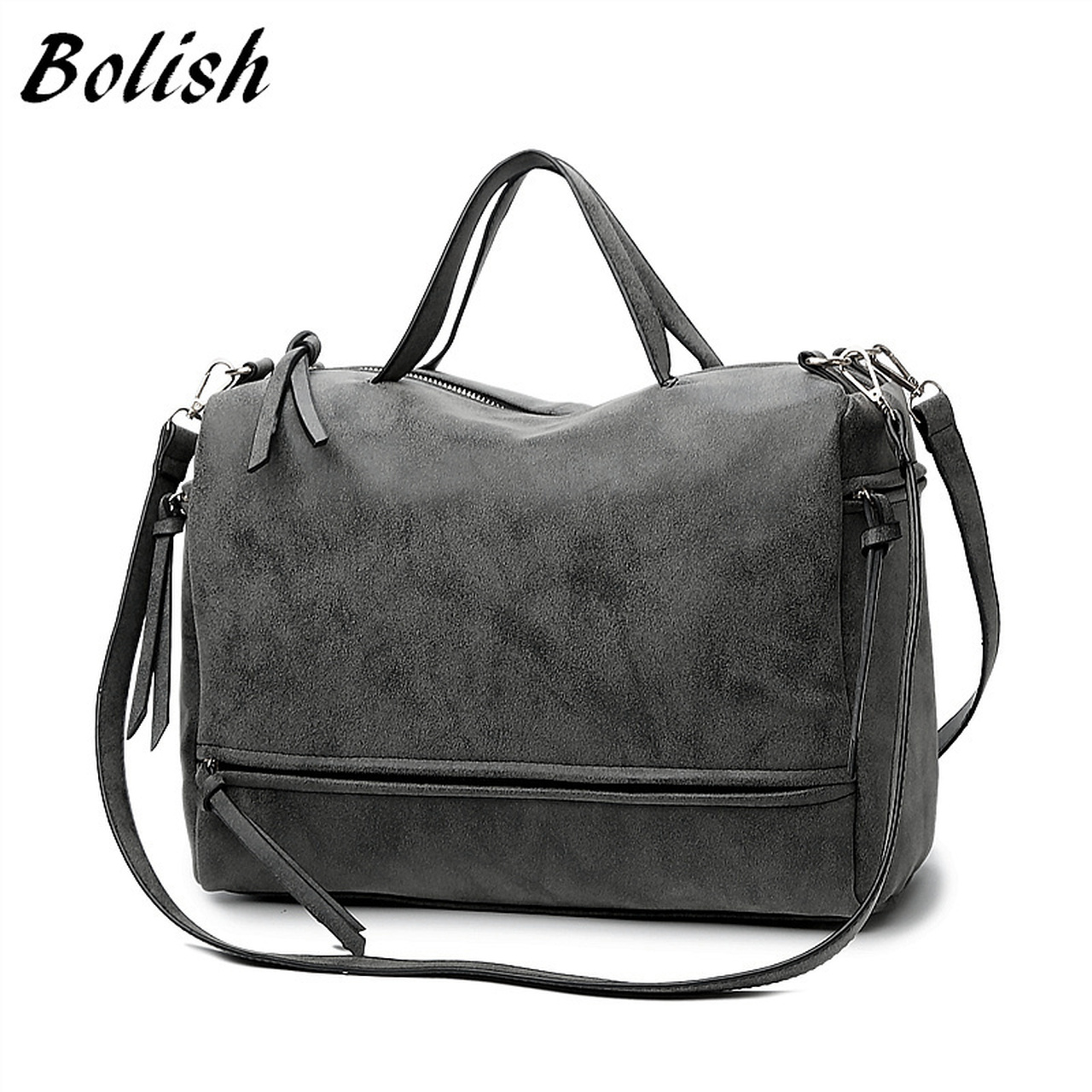 d85675d566 Bolish Brand Fashion Female Shoulder Bag Nubuck Leather women handbag  Vintage Messenger Bag Motorcycle Crossbody Bags ...