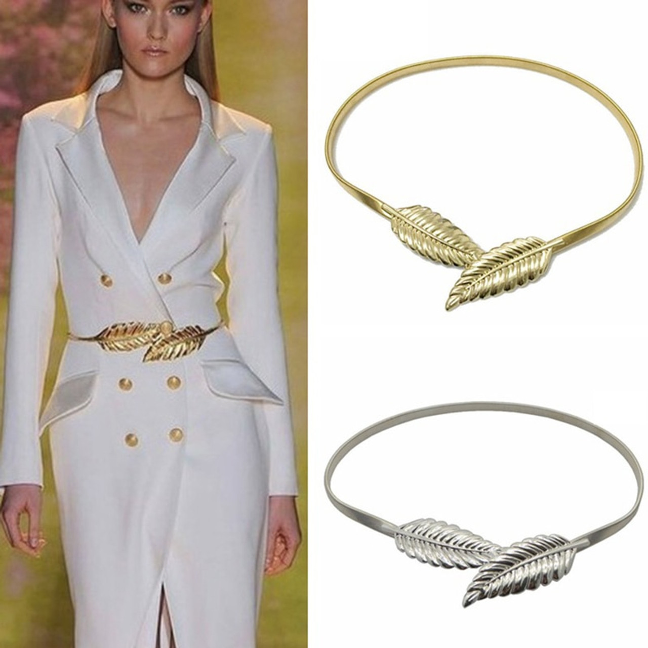 b5b4a4d5047 gold silvery leaf shape wedding designer elastic belts for women girl  stretch skinny waist belt cummerbunds ...