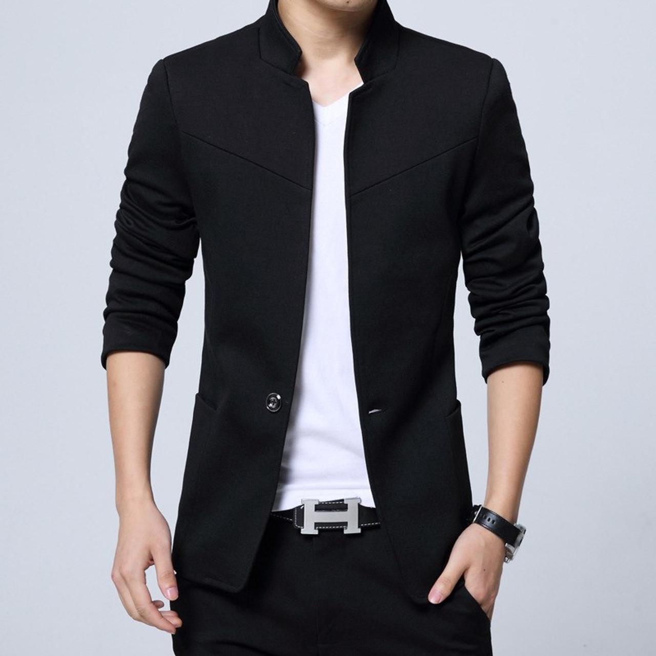 more photos 7f9a6 24ea0 Men Clothes 2018 England Style Cotton 5XL Blazer Mandarin Collar Americana  Hombre Blazers Men Suits Silm Fit Casual Blazer Homme