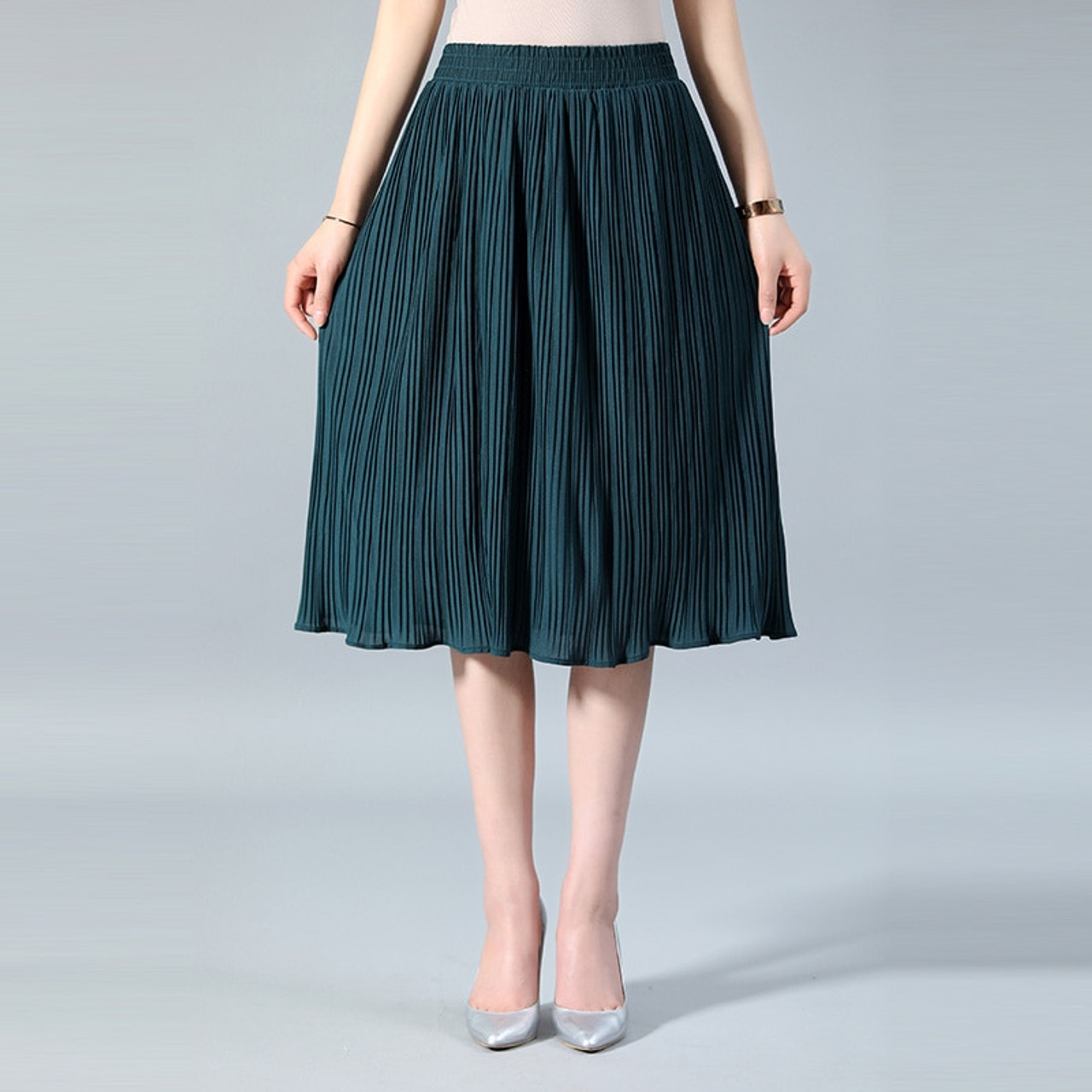 mejor selección 3b23b f0dc6 SNOW PINNACLE Women Chiffon Skirt Summer Thin Solid Pleated Skirts Womens  Saias Midi Faldas Vintage Women Midi Skirt