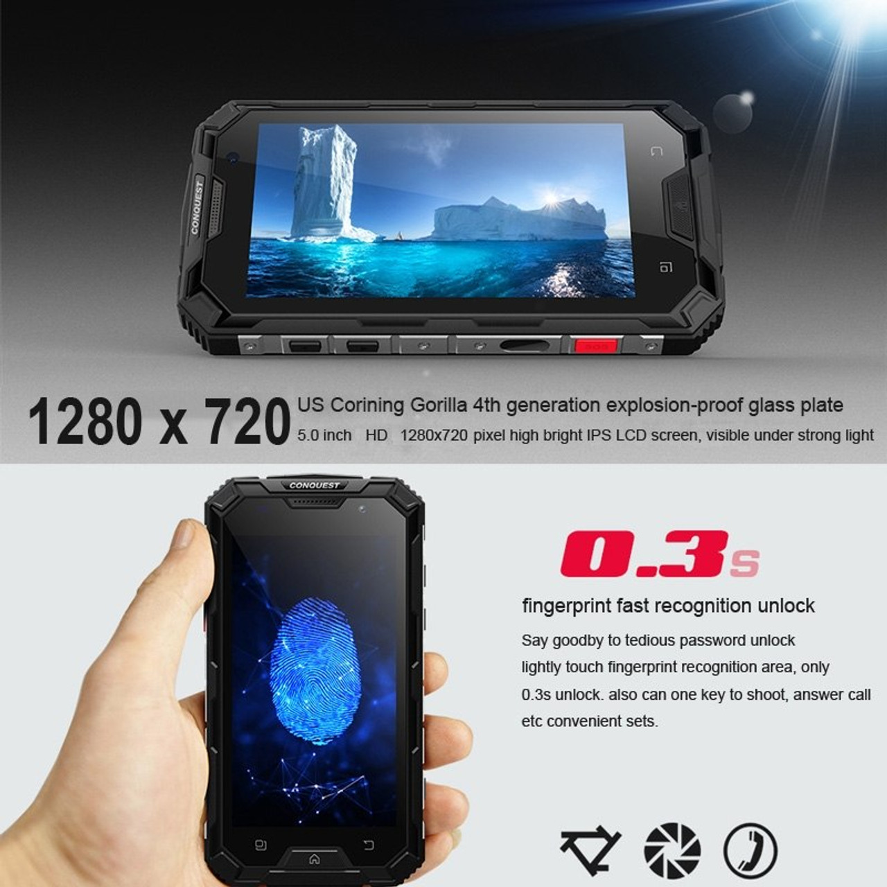 Conquest S8 Smartphone Waterproof 5 0