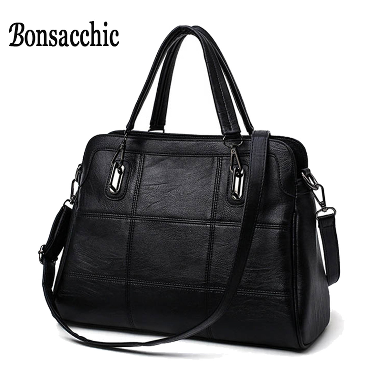 31c4bd2384a Bonsacchic Fashion Ladies Hand Bag Women s Genuine Leather Handbag Black Leather  Tote Bag Bolsas femininas Female Shoulder Bag - OnshopDeals.Com
