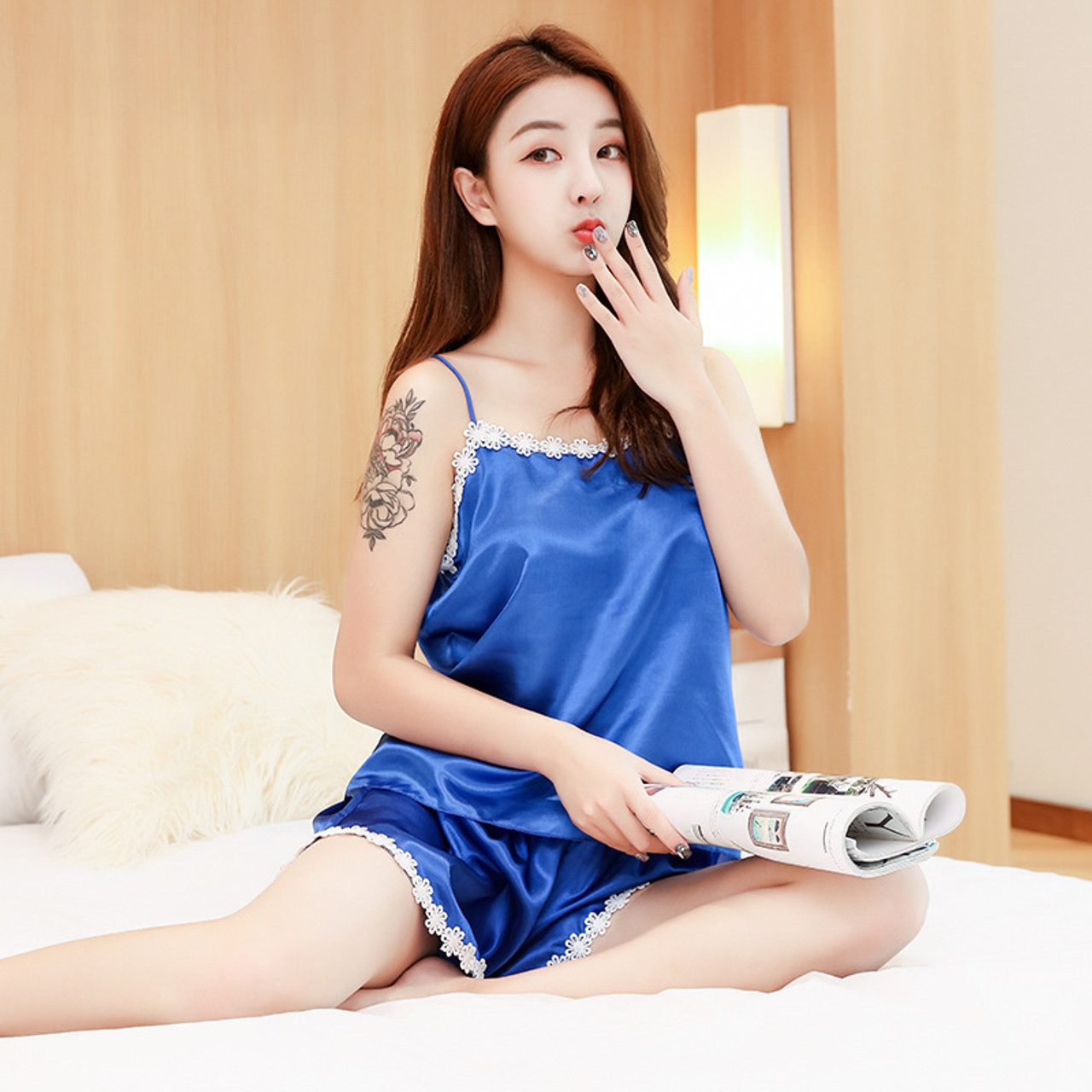 df482a0dbcc ... Ladies Sexy Summer Night Dress Women Satin Lace Sleepwear Silk Nightgown  Sleeveless V-Neck Nightdress ...