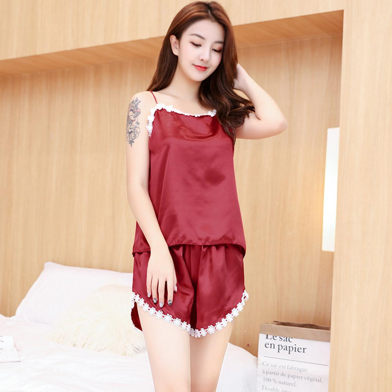 dceba64432 Ladies Sexy Summer Night Dress Women Satin Lace Sleepwear Silk Nightgown  Sleeveless V-Neck Nightdress Plus Size Female Nightie