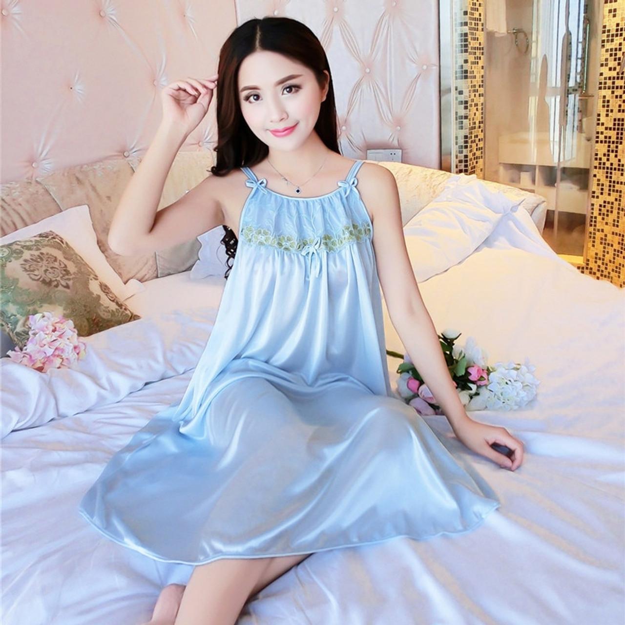 c49927e0c91 ... Fashion Silk Brand Spring Summer Silk Nightgown Women Sexy Spaghetti  Strap Lace Lingerie Dress Sleepwear Sleepshirts ...