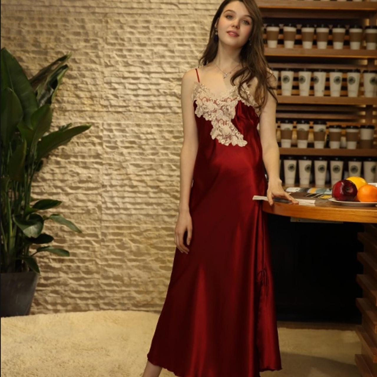 3bd0cbeaa904 ... Ladies Sexy Silk Satin Nightgown Long Night Dress Lace Sleepshirt  Summer Nightdress V-neck Sleeping ...