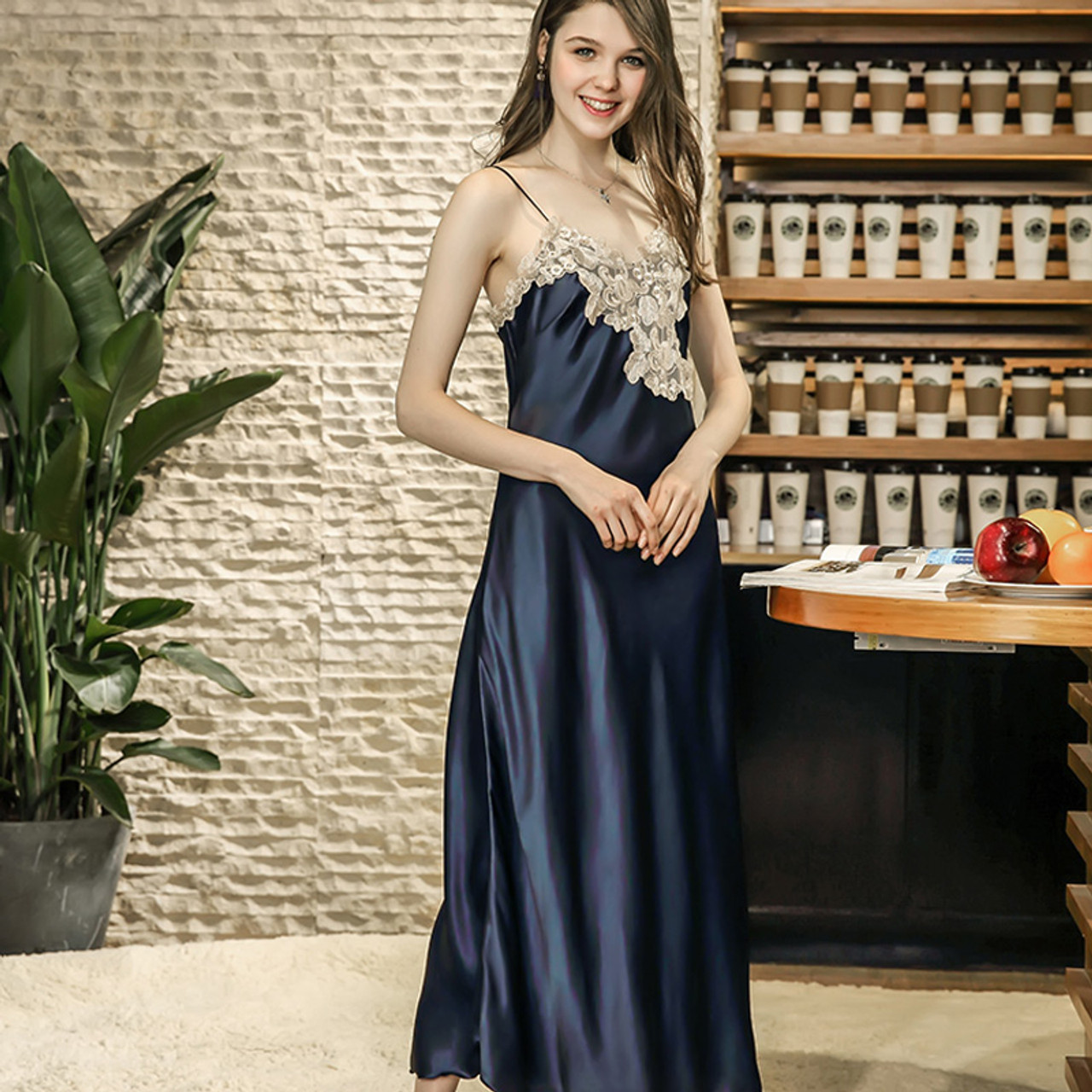 ad05201228be6 ... Ladies Sexy Silk Satin Nightgown Long Night Dress Lace Sleepshirt Summer  Nightdress V-neck Sleeping ...