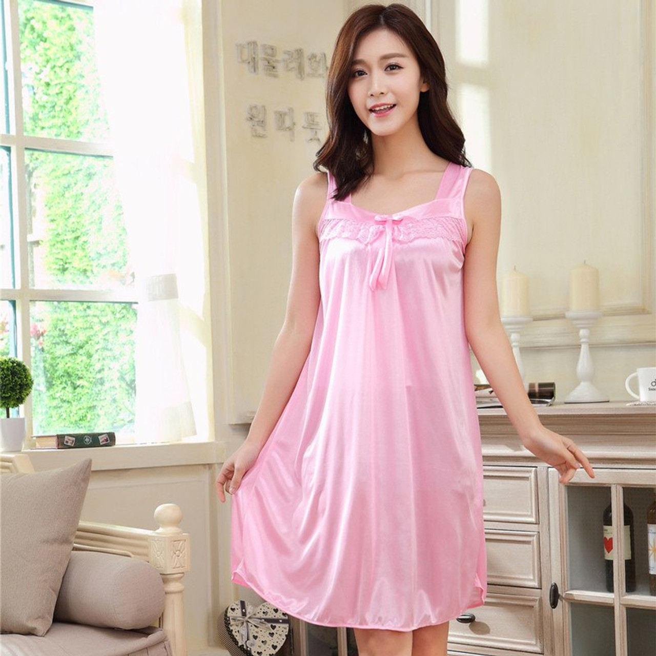 New Fashion Summer Sexy Women Lace Silk Lingeries Nightgowns Causal Ladies Nightdress Sleepwears Female Large Size 5 Colors Onshopdeals Com