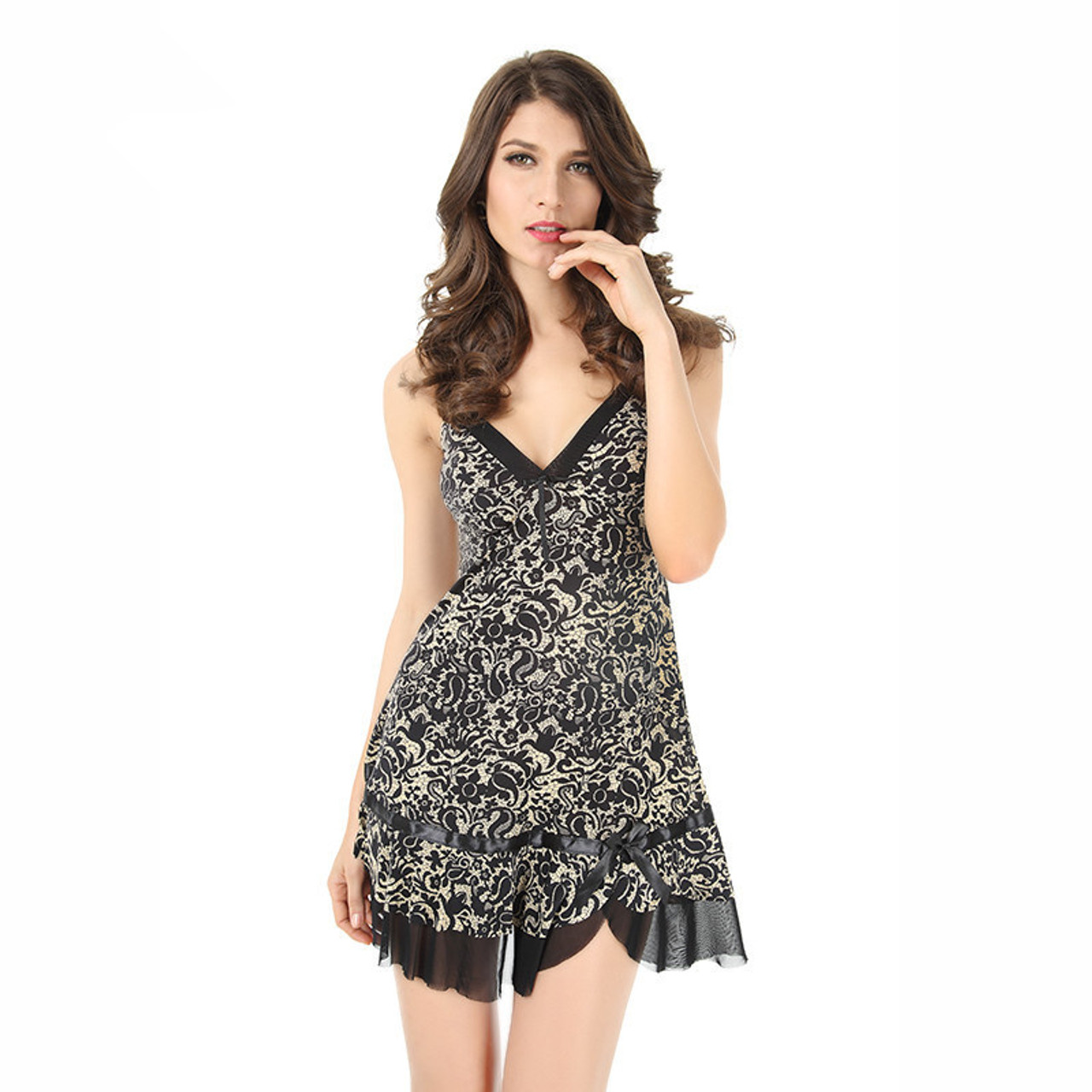 cf6e1f2949 ... JiaHuiGe Faux Silk Fashion Sexy Women Nightgown Summer Sleepwears  Sleeveless Dresses Women Size Sexy Sleepwear Nightgown ...