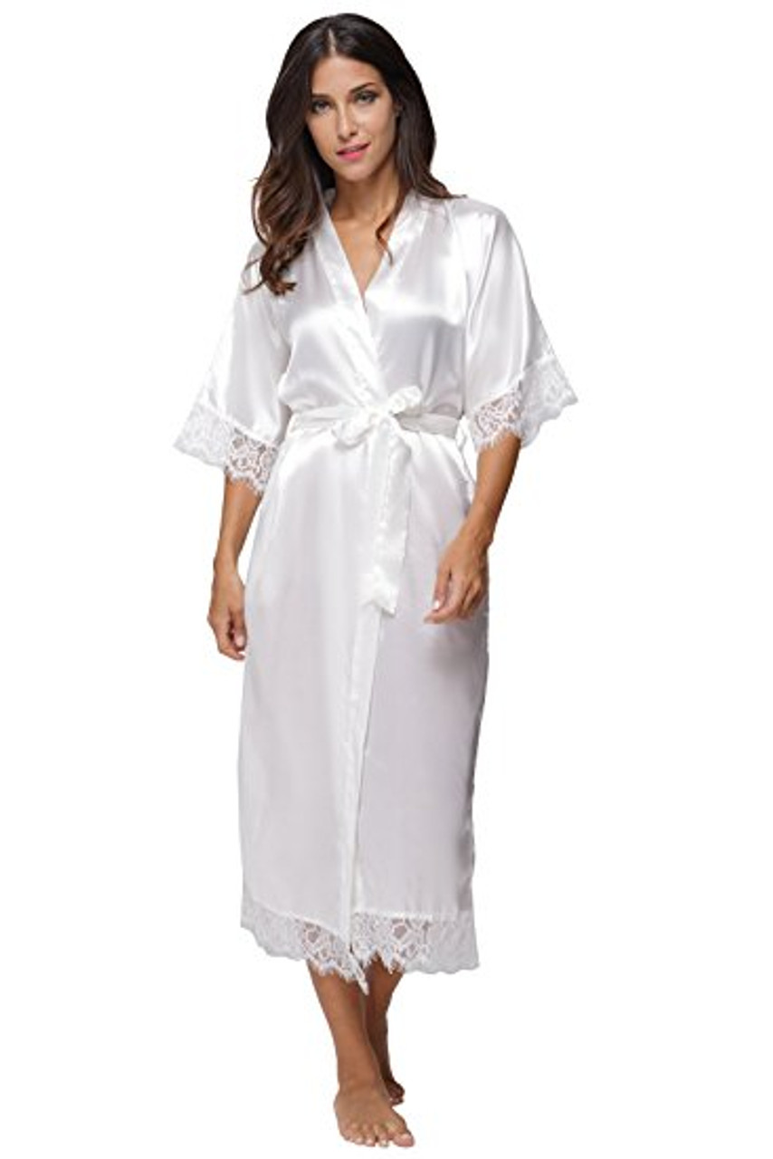 e8772821f Summer Lace Patchwork Satin Kimono Robe Sexy Sleepwear Lingerie Chemises  Women Silk Long Nightgown Wedding bridesmaid ...