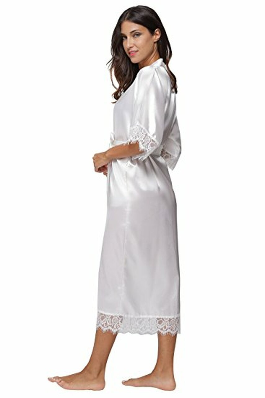 8deac54c8f ... Summer Lace Patchwork Satin Kimono Robe Sexy Sleepwear Lingerie  Chemises Women Silk Long Nightgown Wedding bridesmaid ...