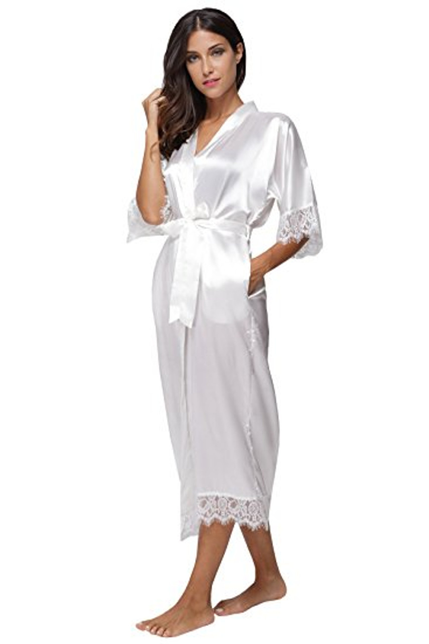 07841b0a207d5 Summer Lace Patchwork Satin Kimono Robe Sexy Sleepwear Lingerie Chemises  Women Silk Long Nightgown Wedding bridesmaid Robes